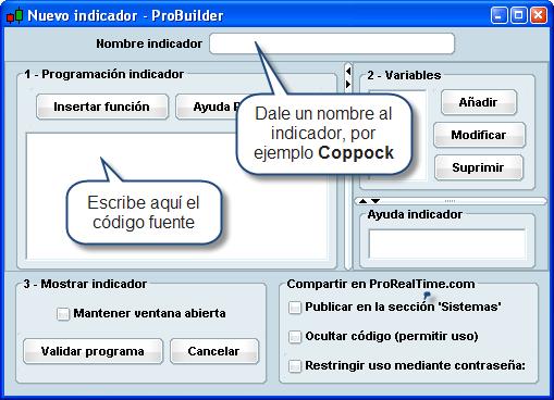 Bolsa programar indicador