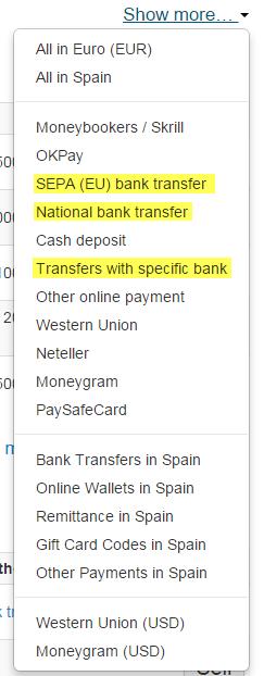 formas de pago bitcoin